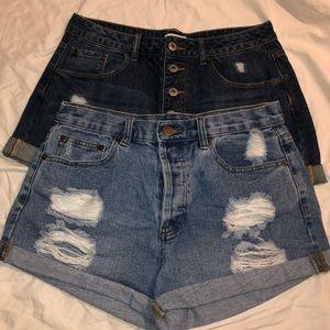 🌟 BUNDLE Forever 21 cuffed Denim shorts